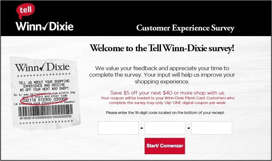 www.Tellwinndixie.com - Win $5 Off - Winn Dixie Survey