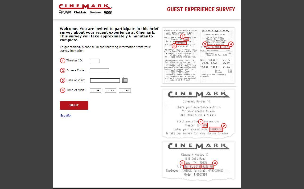Cinemark survey.com - Cinemark Survey Free Movies for a Year
